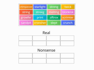 Phonics: Phase 4 Real and Nonsense sort
