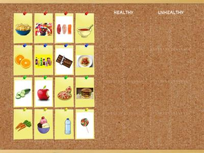 Healthy and unhealthy food - match