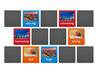 Let´s revise adjectives to describe places! Find the synonyms!
