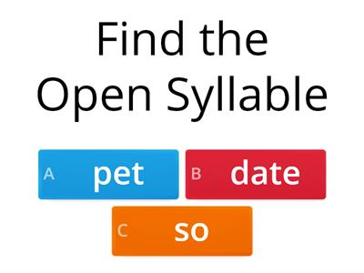 Find the Syllable Type Wilson 5.1 Quiz