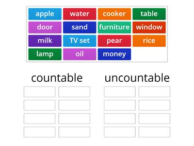 Divide nouns into countable and uncountable