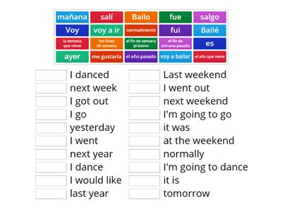 Three tenses and time phrases (past, present, near future)