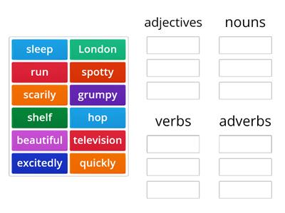 noun, adjective, adverb and verb sorting
