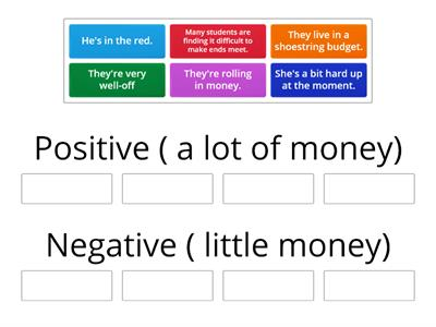Money expressions positive and negative