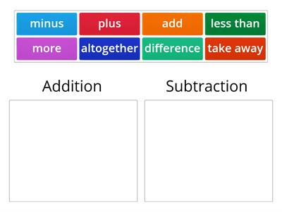 Sort addition and subtraction words