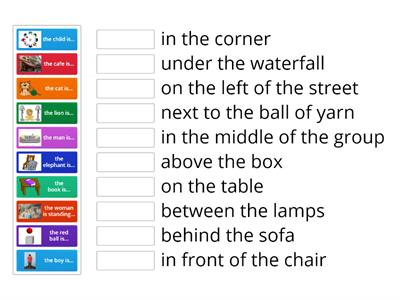 Prepositions of place. Easy match-up