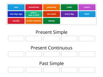 3 класс - Present Simple/Present Continuous/Past Simple