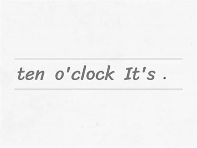 Time (o'clock/half past)