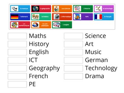 Match up School subjects Y7