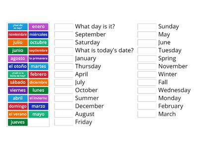 Spanish days, months, and daily questions