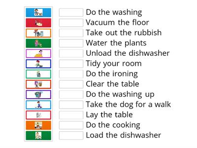 Housework collocations