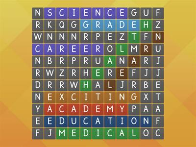Welcome back wordsearch- health academy