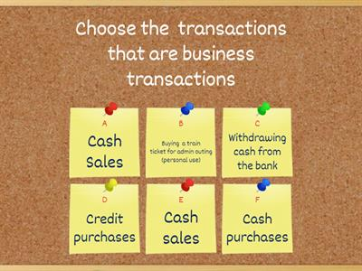 Quiz: Business Transactions-Book Keeping Transactions AAT