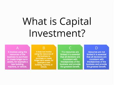 Capital Investment Appraisal Quiz - AAT - Management Accounting