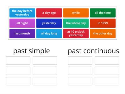 Signal words - past simple/past continuous