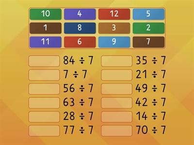 7 times table division facts