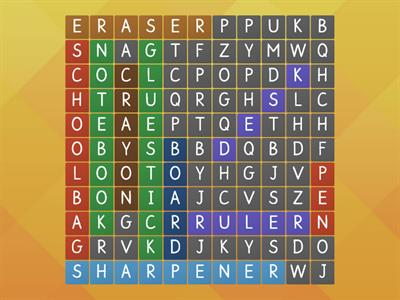 School objects - Wordsearch
