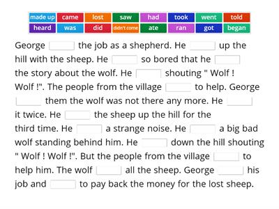 The Boy Who Cried Wolf ( Irregular Verbs) Dip in 6