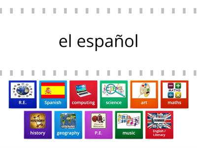 MATCH UP School Subjects Spanish - English