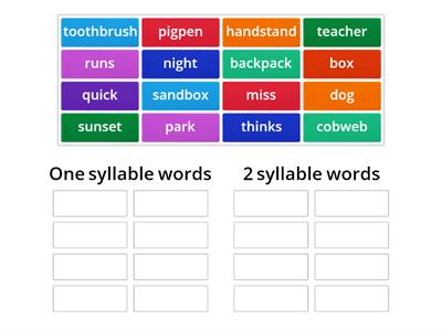 One Syllable and Two Syllable Words - sorting