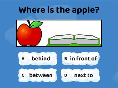 Prepositions - behind, next to, between, in front of