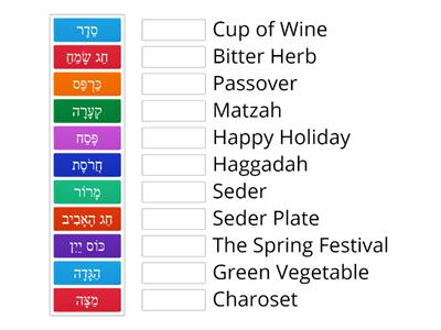 Passover Vocabulary -memory game Heb Eng