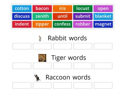 Rabbit, tiger, raccoon words group sort