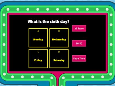 Ordinal numbers and days of the week