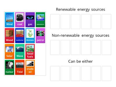 sorting renewable and non-renewable energy sources