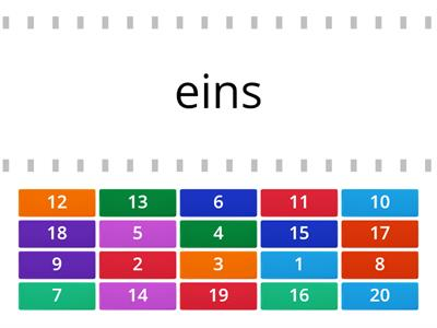Numbers 1-20 in German