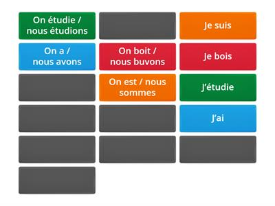 French -  Je and nous / on verbs
