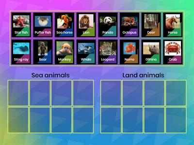 Sea animals and land animals