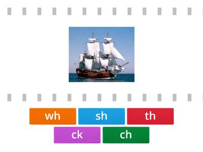 Match the digraph - wh, th, sh, ch, ck