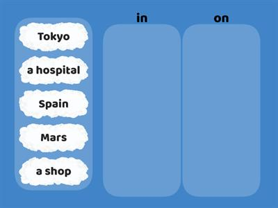 62 Prepositions of place (in or on)