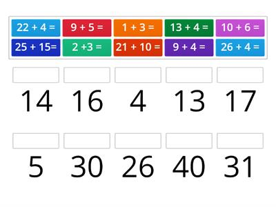 addition subtraction match up