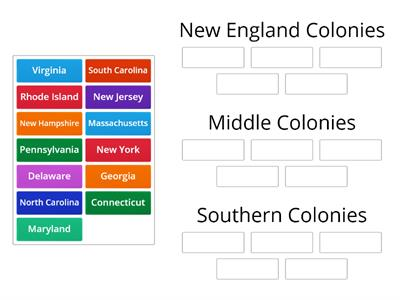 Colonial Regions Matching Game