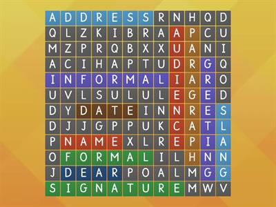 Wordsearch letter writing
