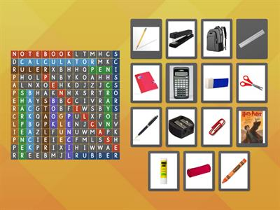 School supplies (wordsearch)