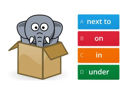 Prepositions (on, in, under, next to, behind)