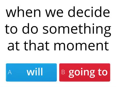 Will/going to - RULE