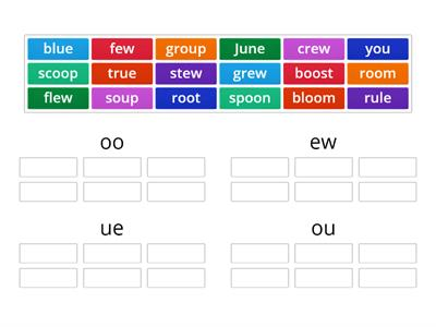 Word sort - oo, ew, ue, ou