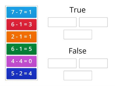 True or False Subtraction