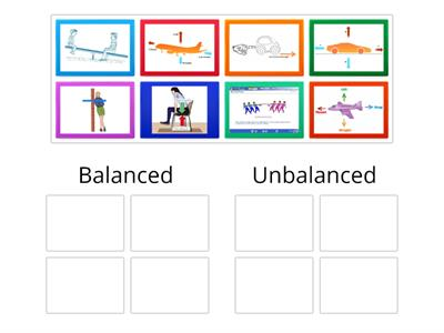 Balanced and unbalanced forces card sort