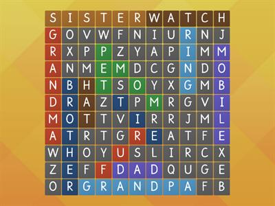 Wordsearch Family Song