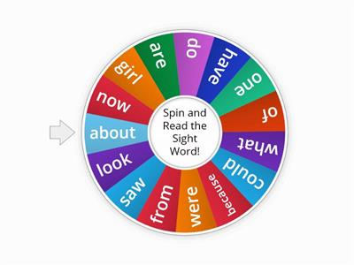 Sight Word Wheel #2