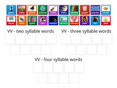Syllabication with V V Words - two, three, and four syllables