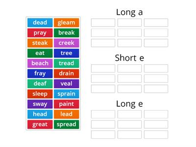 Sorting Vowel teams (ai, ay, ee, ea (all sounds))