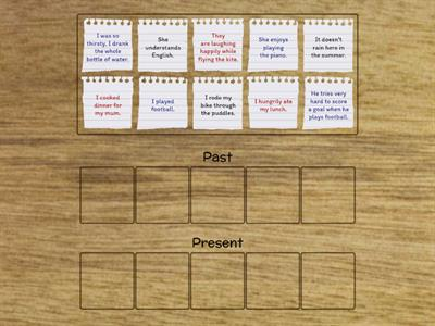 Copy of Past and Present Simple Tense sorting sentences