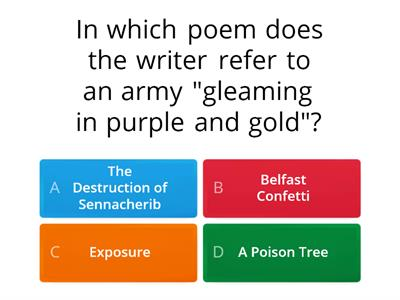 GCSE conflict poetry anthology quiz
