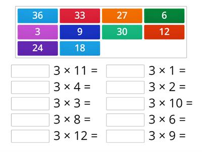 Times tables x3 Match Up